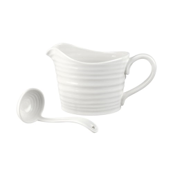 Sauce jug & mini ladle, white