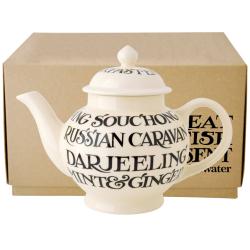Black Toast - All Over Writing Teapot, 4 mug