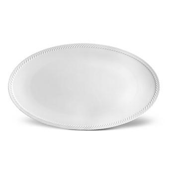 Corde Large oval platter, 53 x 30cm, white