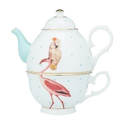 Flamingo Tea for one, H16 x W16.5 X D12cm