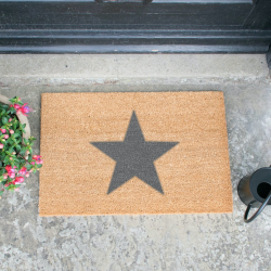 Star Doormat, L60 x W40 x H1.5cm, Grey