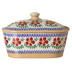 Old Rose Covered butter dish, L19 x W14 x H13cm