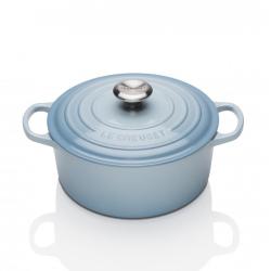 Signature Cast Iron Round casserole, 20cm - 2.4 litre, Coastal Blue