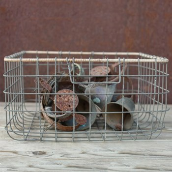 Lemba Wire basket, 20 x 38 x 38cm, distressed grey and wicker rim
