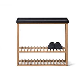 Hello Storage table, H74.4 x W81 x D28cm, black/oak