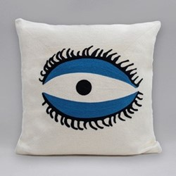 The Evil Eye Cushion, 45 x 45cm, white/blue