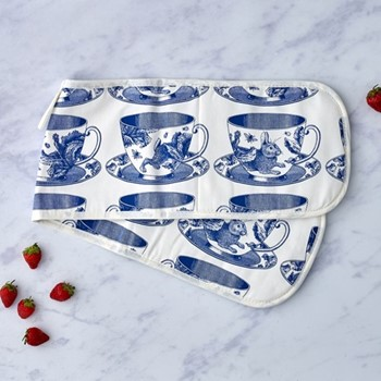 Teacup Oven glove, 84 x 20cm, white/delft blue
