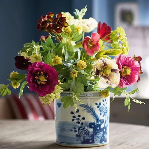 Faux poppy, hydrangea, tulip bunch, H67cm, Multi