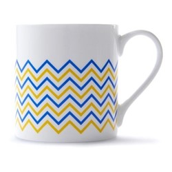 Wave Mug, H9 x D8.5cm, yellow/blue