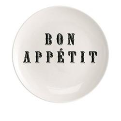 Bon Appetit Plate, Dia20cm, black/white
