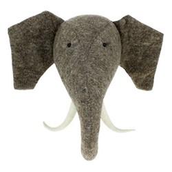 Decorative Plaques Wall mounted elephant head , H52 x W52 x D27cm, grey felt