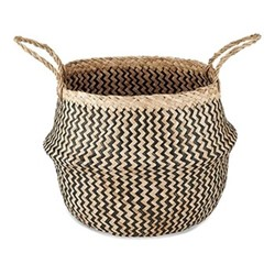 Ekuri Medium basket, H40 x D35cm, black and natural