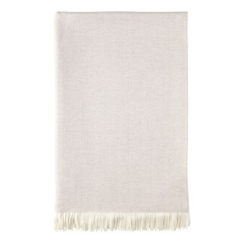 Herringbone Merino woven bed throw, 230 x 150cm, silver birch & white