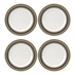 Atrium Set of 4 plates, 28cm, white/green