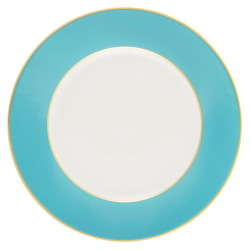 Sous le Soleil Bread plate, 15.5cm, Turquoise With Classic Matt Gold Band