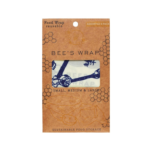 Bears & Bees Print Pack of 3 food wraps, small/med/large