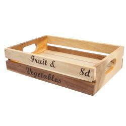 """Baroque - """"Fruit & Vegetables"""" Medium crate, 30 x 21 x 7cm, Rustic Acacia"""