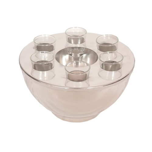 Spirit cooler bowl and 6 shot glasses, 25.5 x 14cm, stainless steel