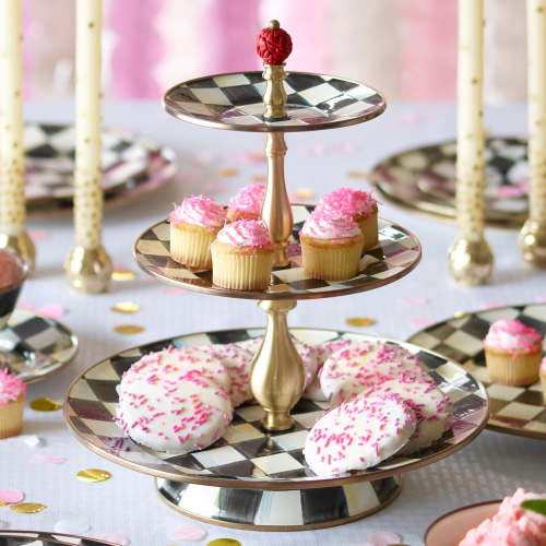 Courtly Check 3 tier sweet stand, 31 x 36cm, enamel