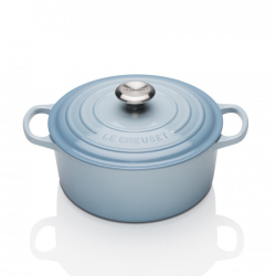 Signature Cast Iron Round casserole, 22cm - 3.3 litre, Coastal Blue