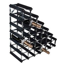Under Stair 27 bottle wine rack, H62 x W62 x D23cm, black ash/galvanised steel