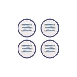 Harlequin Blue Set of 4 round coasters, 10cm, blue/white