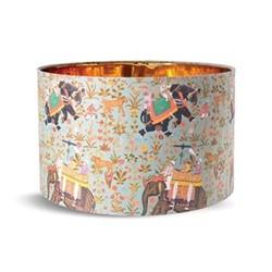 Hindustan Aquamarine Small drum lampshade with metallic gold lining, H22 x L35 x W35cm, aquamarine