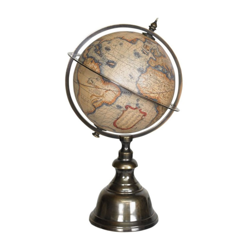 Mini Terrestrial Globe, H22 x D12cm, Wood/Brass