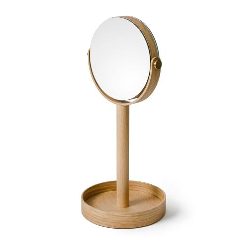 Close Up Mirror, H45 x W19.5 x D19.5cm, Oak/Mirrored Glass