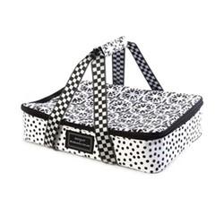 The Hot Date Picnic basket, W43.18 x H8.89 x W29.21cm, black & white