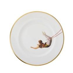 Trapeze Girl Dinner plate, 27cm, crisp white/burnished gold edge