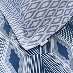 Ziggurat Oxford pillowcase, 50 x 75cm, blue