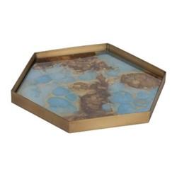 Organic glass tray, W29 x D26 x H3cm, teal