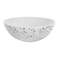 Quartz Bowl, H6 x W17 x L17cm, white and silver