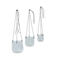 Viri Small hanging planter, D9 x 9cm, clear hammered glass