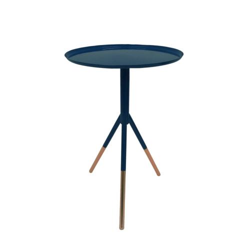 Tripod table, H58cm x Dia37cm, Navy/Copper