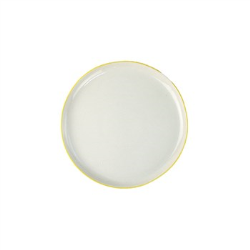 Abbesses Set of 4 medium plates, 21cm, Yellow Rim