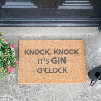 Gin O'Clock Doormat , L60 x W40 x H1.5cm, grey