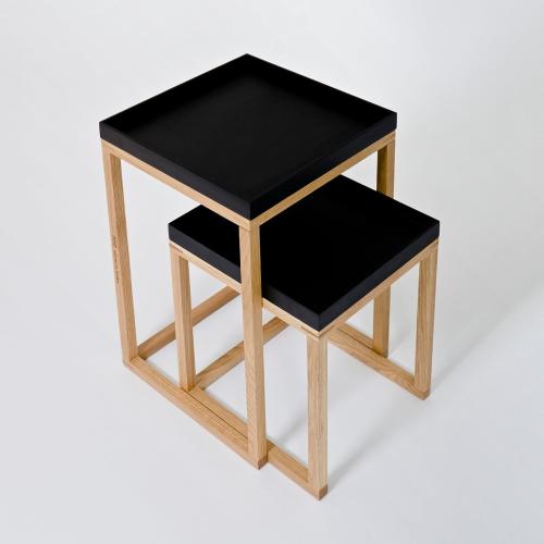 Pair of nest tables, H58.5 x W36 x D36cm, Black/Oak