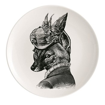 Foxy Lady Plate, Dia25.5cm, black/white