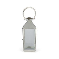 Chelsea Lantern - extra small, 29 x 11 x 11cm, stainless steel nickle plate and glass