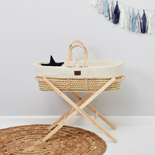 Moses basket stand, H85 x W38 x L85cm, Natural