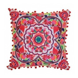 Acapulco Embroidered cushion, L40 x W40cm, coral/white