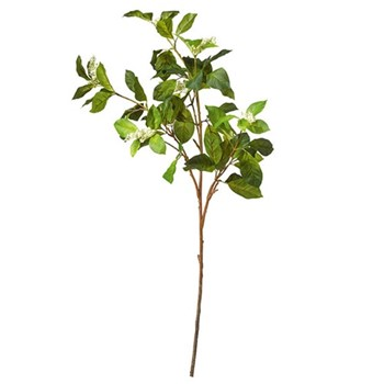 Faux camellia and berry branch, L89cm, green