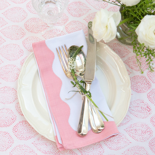Wave Set of 4 napkins, 45 x 45cm, Pink Cotton
