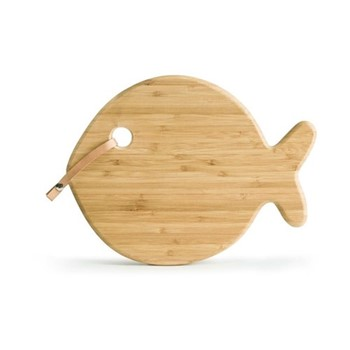 Outdoor Dining Fish serving board, 31x 26 x 1.5cm, bamboo/leather