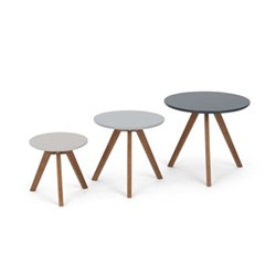 Orion Set of 3 side tables, dark stain and grey