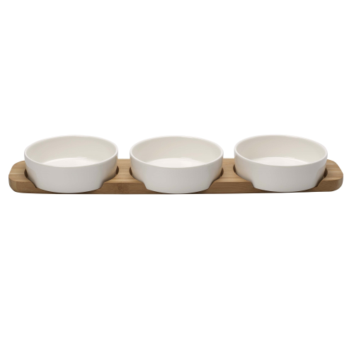 Pizza Passion Set of 4 topping platters, L50 x W13.5 x H5.5cm, White/Bamboo