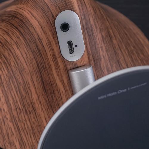 Mini Halo One Bluetooth speaker, H16 x L14 x D6cm, Walnut Effect