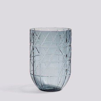 Colour Large glass vase, H19 x W13.5cm, blue